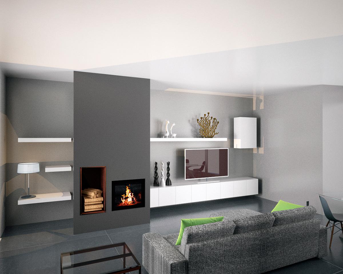 Studio tecnico architettando architetto bonnici soluzioni d 39 interni parete attrezzata e camino - Parete con camino ...